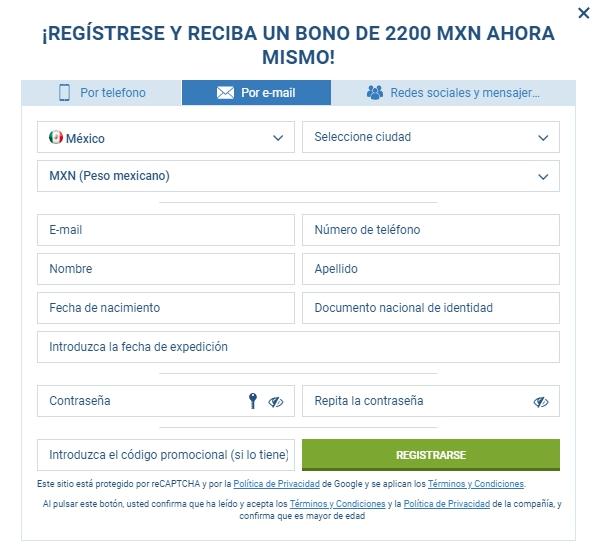 1xBet register en México